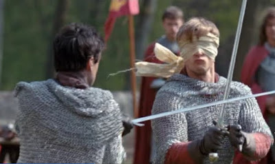 Merlin The Tears of Uther Pendragon screencaps images photos pictures screengrabs Arthur Bradley James sword fighting blindfold chainmail