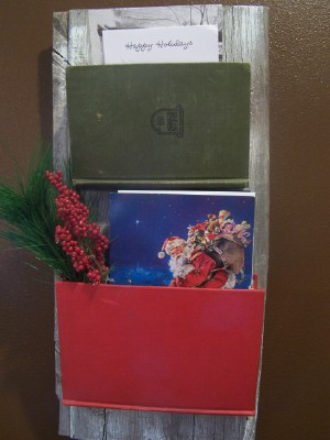 first i made a christmas card holder