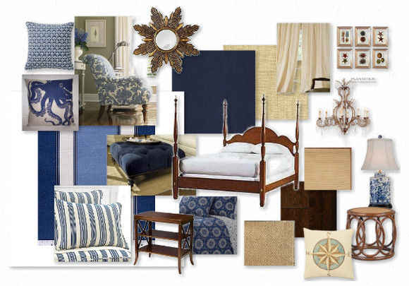 Blue And White Bedroom Mood Board