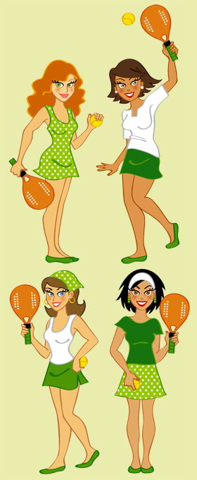 Ilustração representando quatro jogadoras de BEACH TENNIS