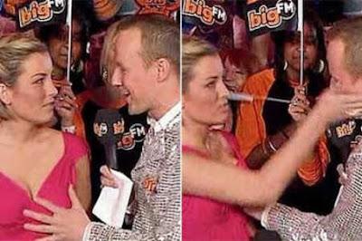 Apresentador leva tapa na cara após colocar a mão no peito da colega