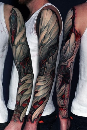 Labels arm sleeve tattoo