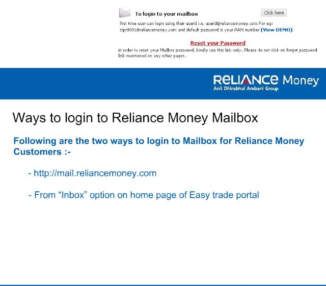Reliancemoney.com Mail Login - Reliance Money Trading, reliance money mail, reliance money login, reliance money account