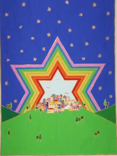צבעי הקשת בצורת מגן דוד