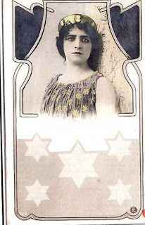 Stars of David under an Art Nouveau portrait