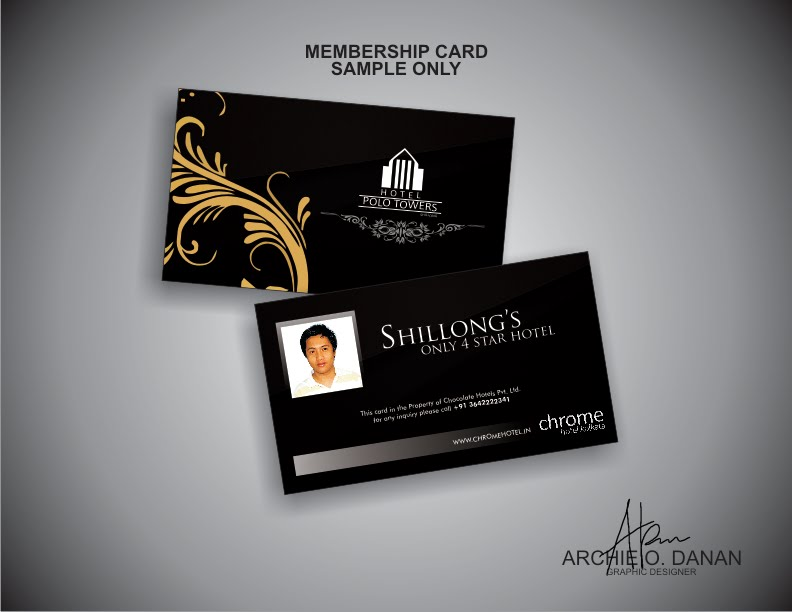 Graphic Design Photography Sample Chrome HOTEL INDIA Logo – Membership Card Sample