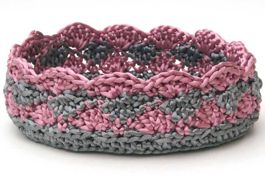 Crocheting Baskets : Silver and rose pink satin cord crochet basket