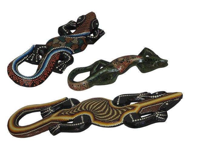 Geckos madera pintada y tallada a mano