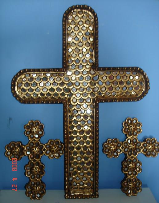 Cruces de Pan de Oro con espejos