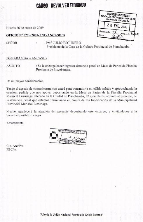 DENUNCIA PENAL CONTRA ALCALDE POR DESTRUCCION TRAMO CAMINO INCA: Huancash-Musga-Collota. Piscobamba