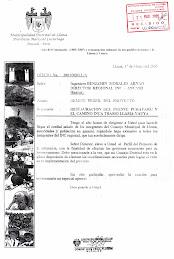 OFICIO AL ING.BENJAMIN MORALES ARNAO-INC ANCASH: PROYECTO RESTAURACION PUENTE PUKAYAQU (Marzo 2005)