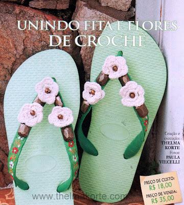 CHINELO BORDADO COM FLORES DE CROCHE POR THELMA KORTE