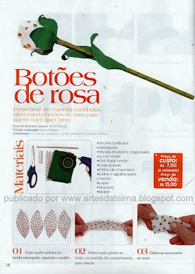 BOTÃO DE ROSA DE TECIDO
