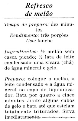 RECEITA DE REFRESCO DE MELÃO