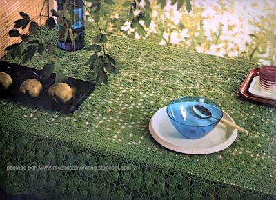 toalha de mesa verde em croche