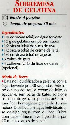 RECEITA DE SOBREMESA DE GELATINA