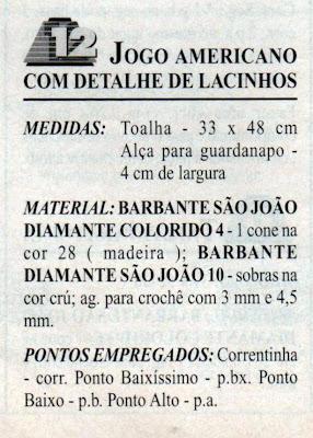 RECEITA DE JOGO AMERICANO EM CROCHE FILE