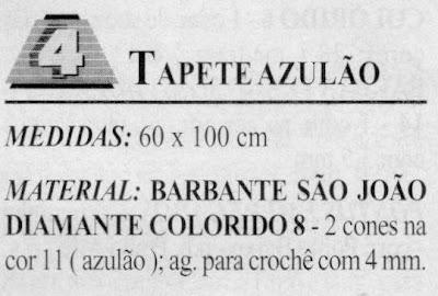 RECEITA DE TAPETE AZULÃO EM CROCHE FILE