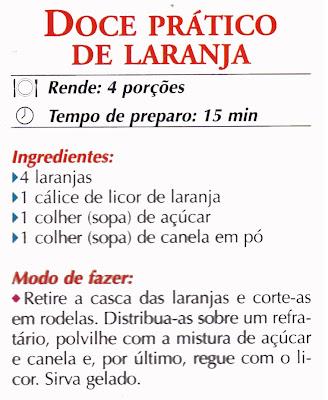 RECEITA DE DOCE PRATICO DE LARANJA