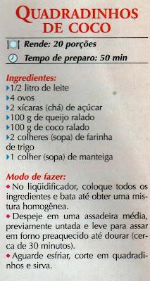RECEITA DE QUADRADINHOS DE COCO