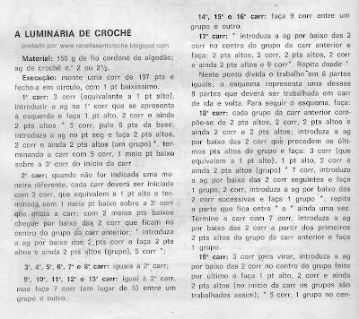RECEITA DE LUMINARIA EM CROCHE