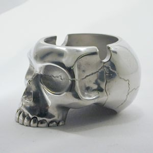 above: The skull head ashtray is available in solid sterling silver or ...