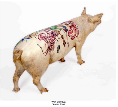 See a more recent post about his tattooed stuffed pigs and tattooed pigskins
