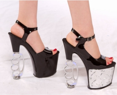 KNUCKLED custom brass knuckle stiletto heels from Tattoo Apparel: