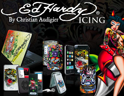 above: as any trendy brand should do, Ed Hardy offers bling kits for mobile