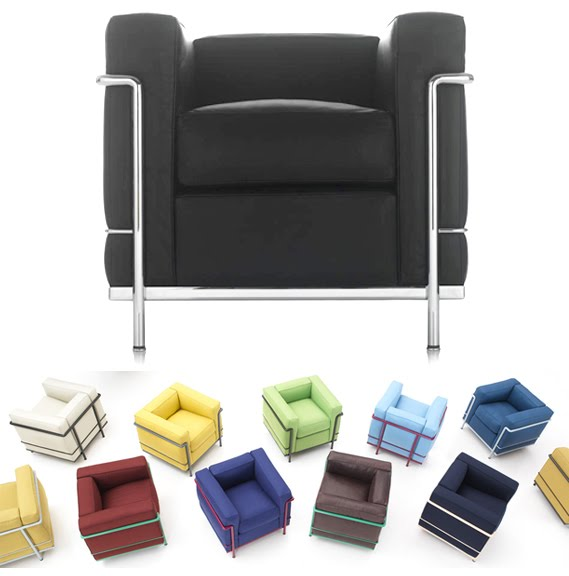 Le corbusier classics lc2 lc3 and lc4 get colorful for Le corbusier chair history