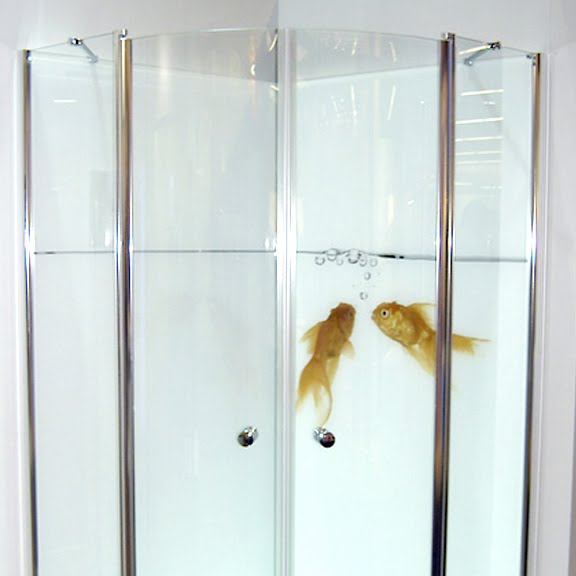 Above: Goldfish Printed On Glass Doors Turns A Shower It Into An Aquarium
