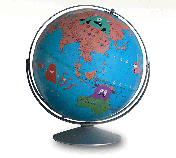 Vintage globes get fun face lifts by wendy gold if its hip its here i have already written about wendy golds decoupage work specifically her art de toilette toilet seats and bathroom scales now the designer has moved out gumiabroncs Gallery