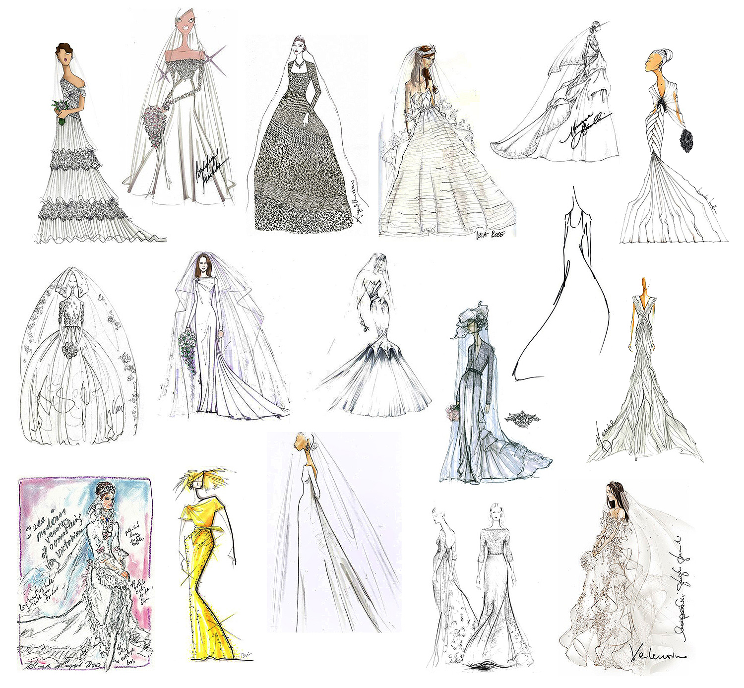 29 Famous Fashion Designers Sketch Wedding Gowns For Kate Middleton Fashion Designs Wedding Dresses