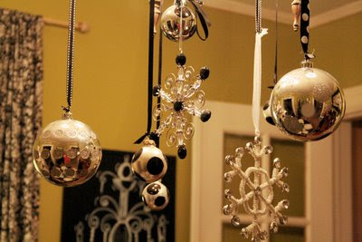 Must love art black white and silver christmas for Hanging ornaments from chandelier