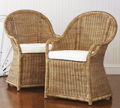Pottery barn wingate rattan dining armchair 299