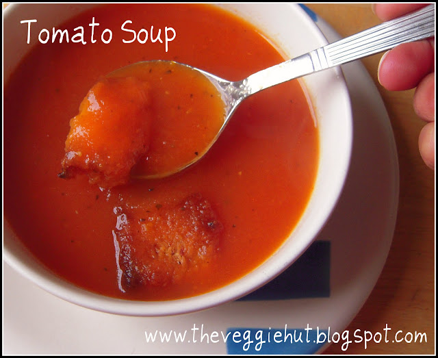 Recipe Tomato Soup with Oven roasted Croutons by The Veggie Hut