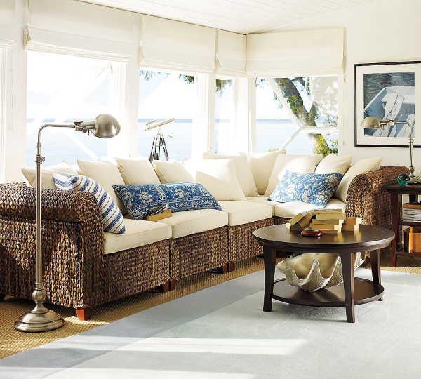 Brighton beach seagrass sectional sofa furniture design for Seagrass living room furniture