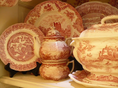 red transferware dishes
