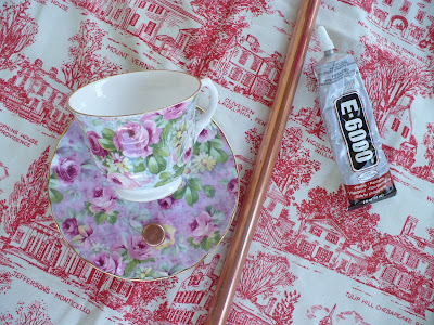 supplies for a DIY teacup birdfeeder