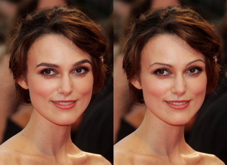 keira knightley eye makeup. ones natural eye shape,