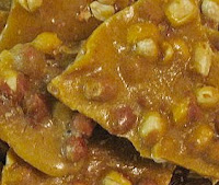 Closeup photo of peanut brittle.