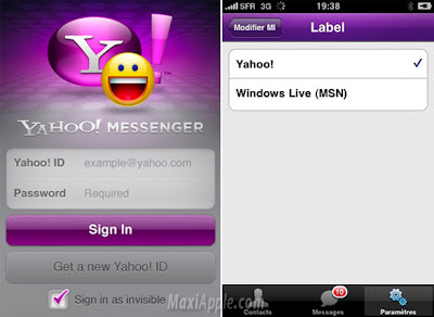 yahoo iphone Yahoo Messenger iPhone : Compatible MSN (gratuit)