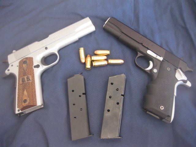Springfield 1911 stainless silver and black opposites