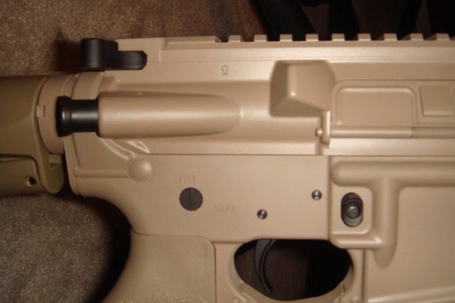 Close up Elliots ar after Coyote tan Cerakote