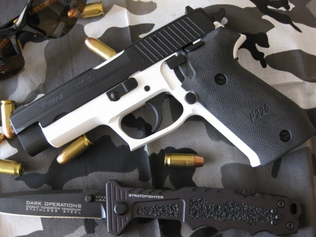 Sig 220 Black and White Cerakote