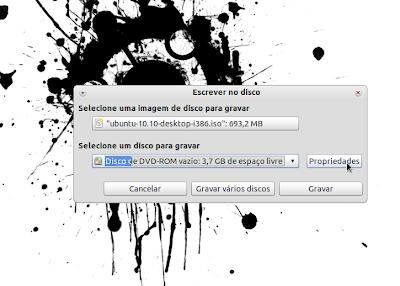 burn ubuntu3 Gravação do CD, Criação do disco de Instalação USB e Instalação do Ubuntu