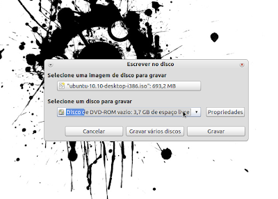 burn ubuntu5 Gravação do CD, Criação do disco de Instalação USB e Instalação do Ubuntu