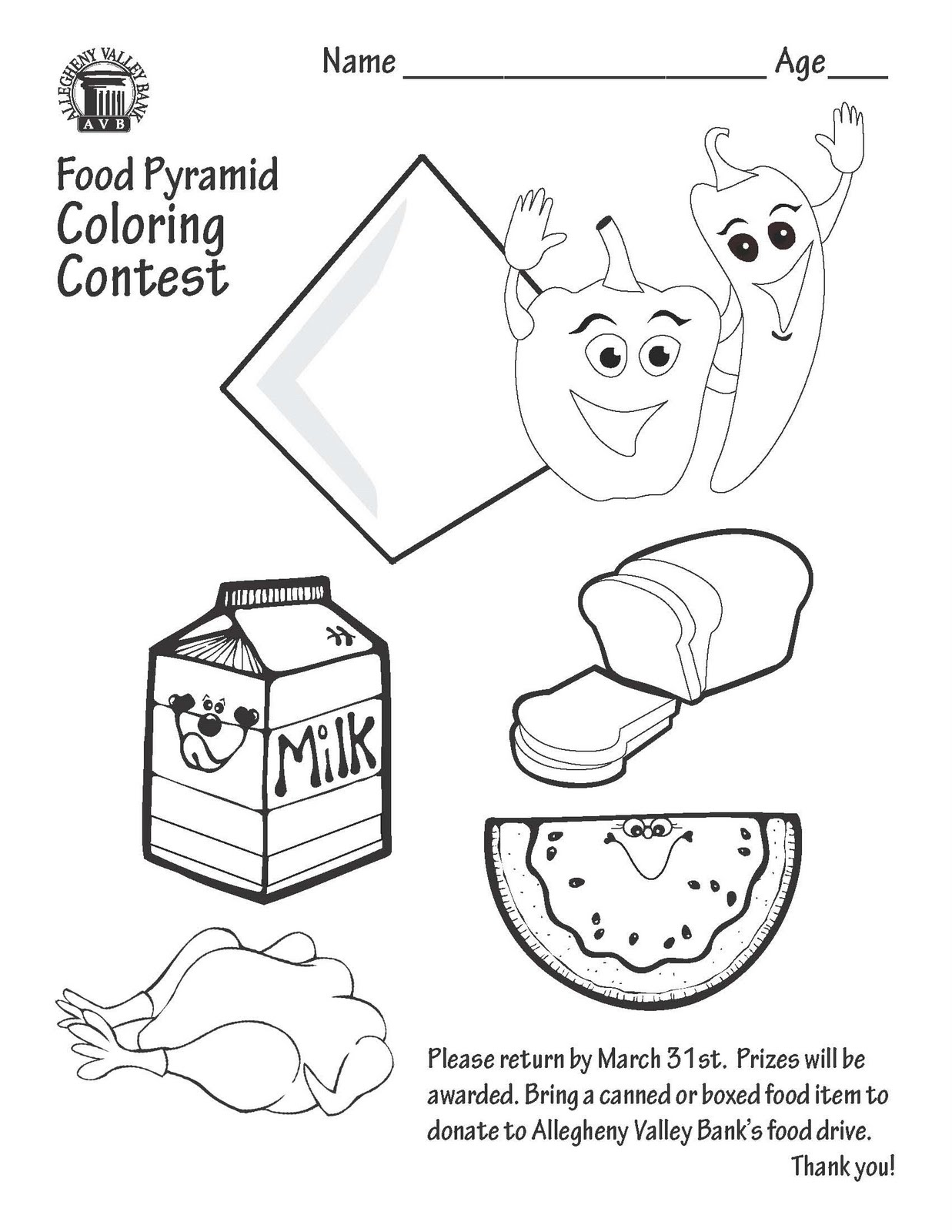 free food pyramid coloring pages - photo#27