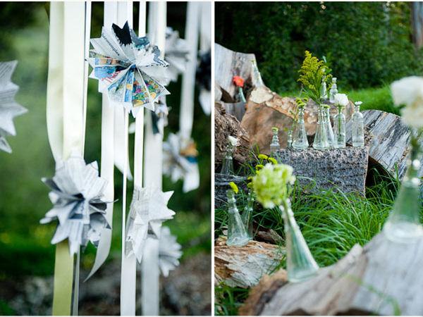 ribbons and pinwheels hanging from tree