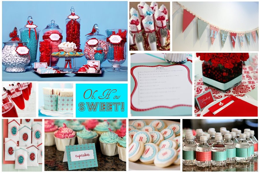 celebrations at home  red and aqua baby shower  kid's parties birhdays baby showers http://www.frostedevents.com